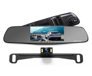 """AUTO-VOX M3 Dual Lens Dash Cam 5"""" LCD Full HD 1080P Rearview Mirror Dash Cam and IP 68 Waterproof Car Reverse License Plate Backup Camera Review"""
