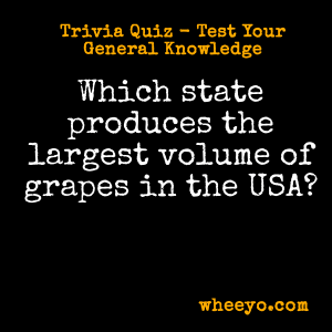 Wine Trivia Questions_Largest Producer of Grapes in USA