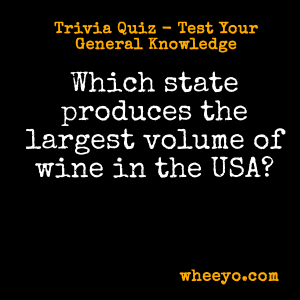Wine Trivia Questions_Largest Producer of Wine in USA