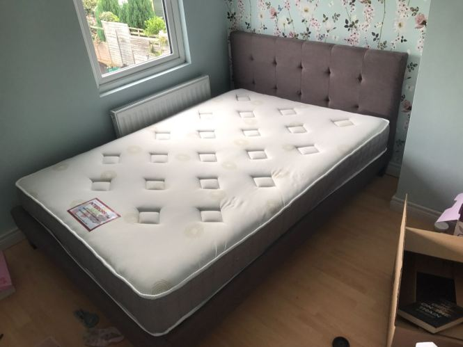 Very Nice Double Bed With On Back Headboard And Mattress