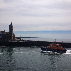 lifeboat, porthleven, cornwall, sea, clock tower, people, watching, water, scene, iconic, charity