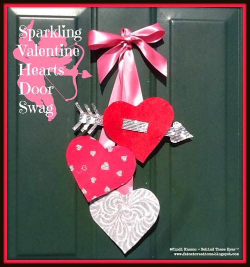 Sparkling Valentine Hearts Door Swag