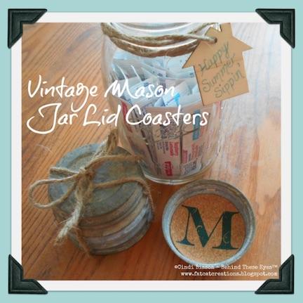Vintage mason jar lid coasters
