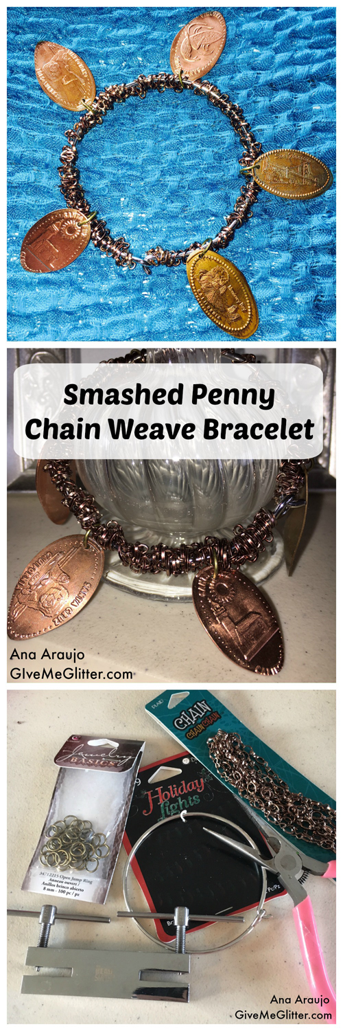 Smashed Penny Chain Weave Bracelet-Cover