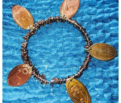 Smashed Penny Chain Weave Bracelet