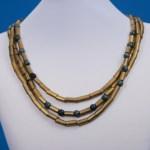 Handmade Triple-Strand Clay Tube Bead Necklace