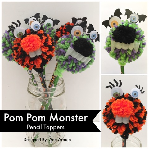 Pom Pom Monster Pencil Toppers