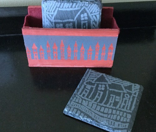 Etched Slate House Coasters