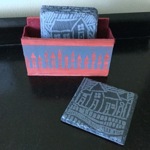 Etched Slate House Coasters