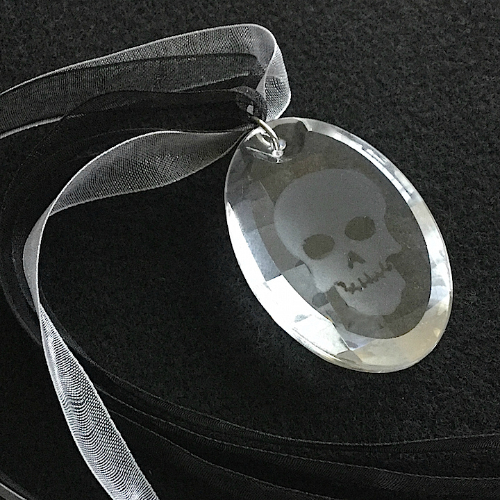 Etched Skull Crystal Pendant