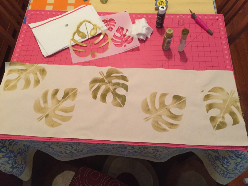 Stenciled Tropical Table Runner 4