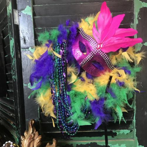 Dollar Store Mardi Gras Wreath
