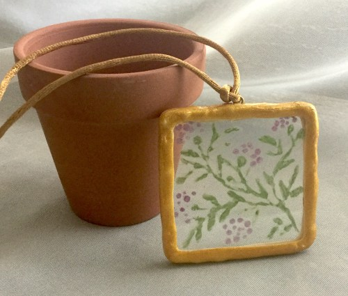 Etched Flowers Square Glass Pendant