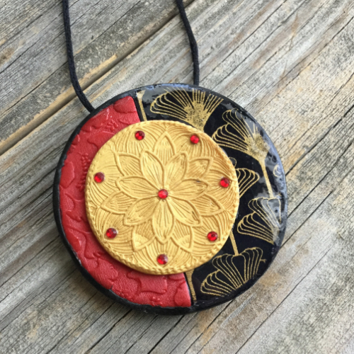 Asian-Influenced Polymer Clay Pendant