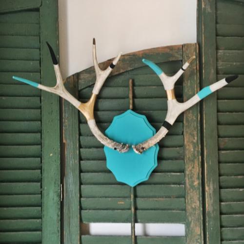 Painted Deer Antlers Rack
