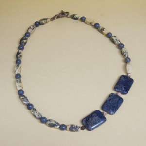 Blue and Cream Offset Focal Necklace