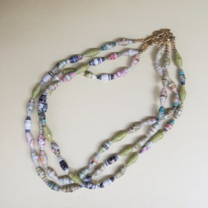 Triple Strand Rolled Paper Bead Necklace