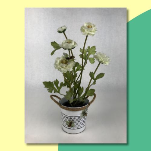 Stenciled Bee Flower Pot