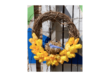 Spring Tulip Wreath with Homemade Bird Nest