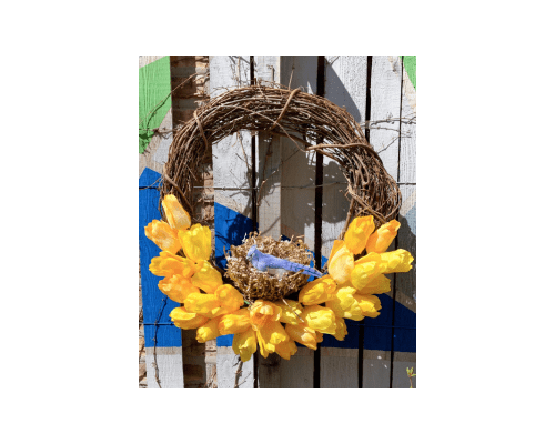 Spring Tulip Wreath with Homemade Bird Nest