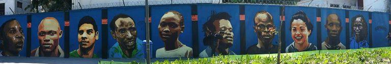 Mural dos Refugiados, no Boulevard Olímpico.