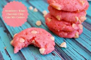 Strawberry White Chocolate Chip Cake Mix Cookies