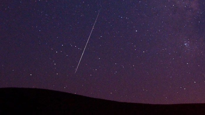 A Perseid meteor streaks across the sky during the Perseid meteor shower on Tuesday, Aug. 11, 2009 in Vinton, Calif. (AP Photo/Kevin Clifford)