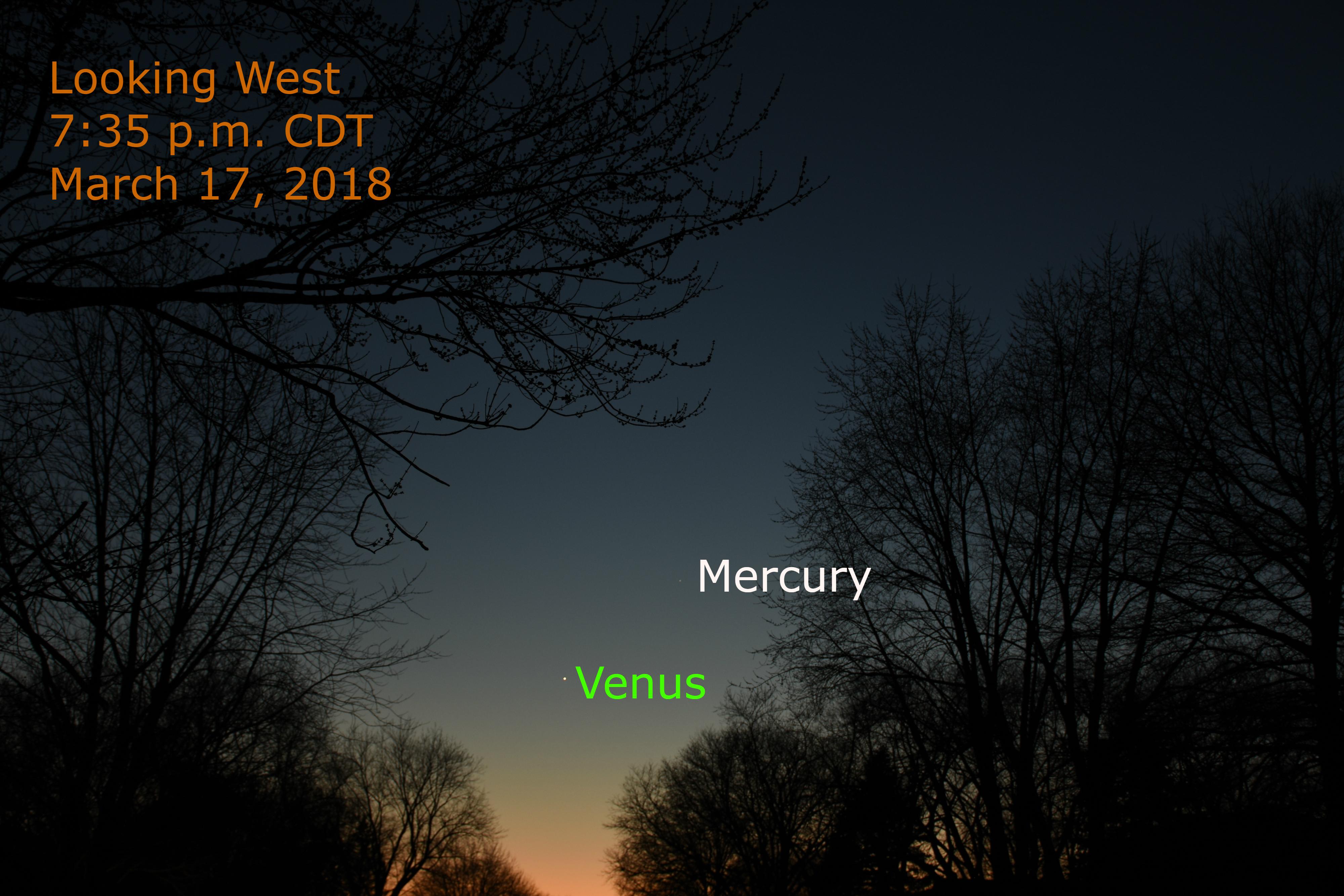 Venus and Mercury: March 17, 2018