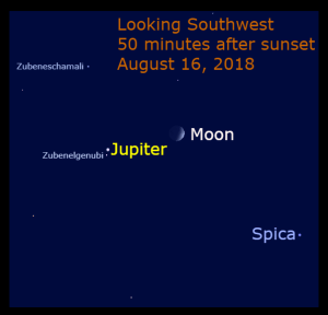 Jupiter passes Zubenelgenubi for the third conjunction during this appearance of the giant planet. The waxing crescent moon is nearby.