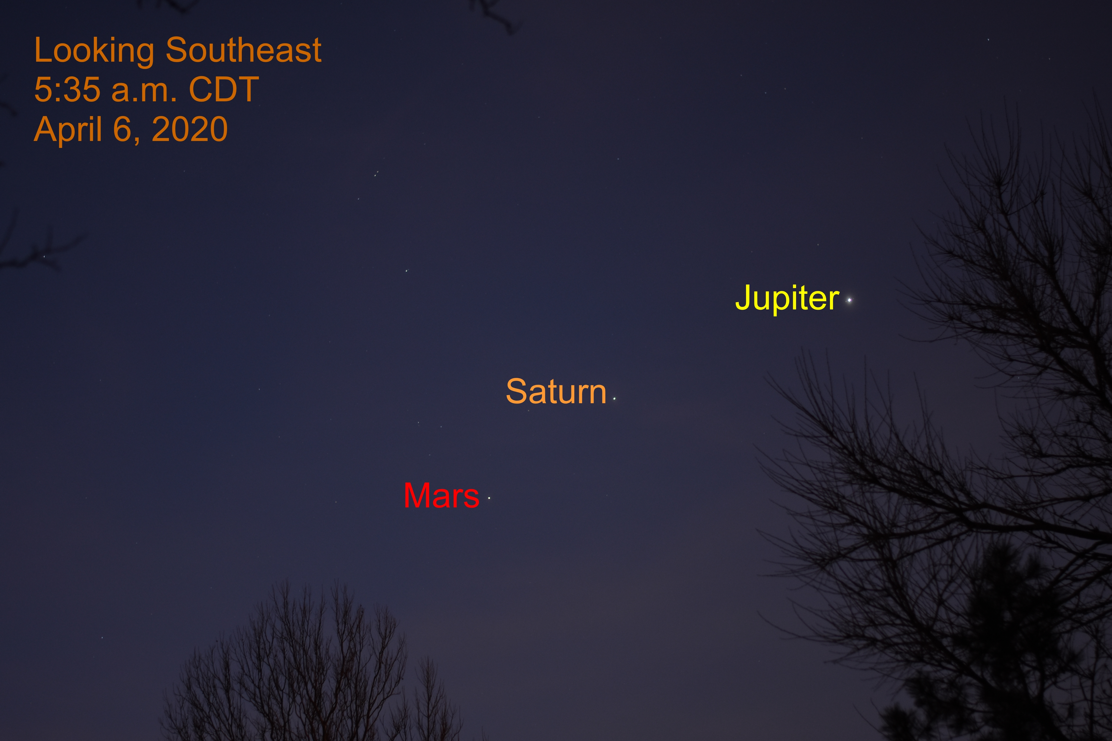 Jupiter, Saturn, and Mars, April 6, 2020