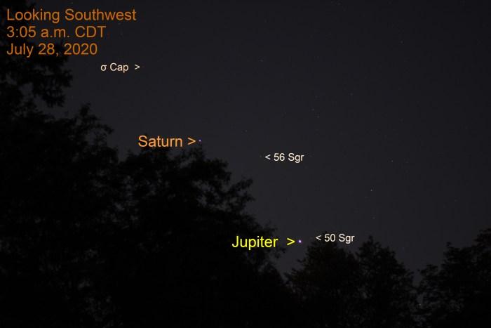 Jupiter and Saturn, July 28, 2020