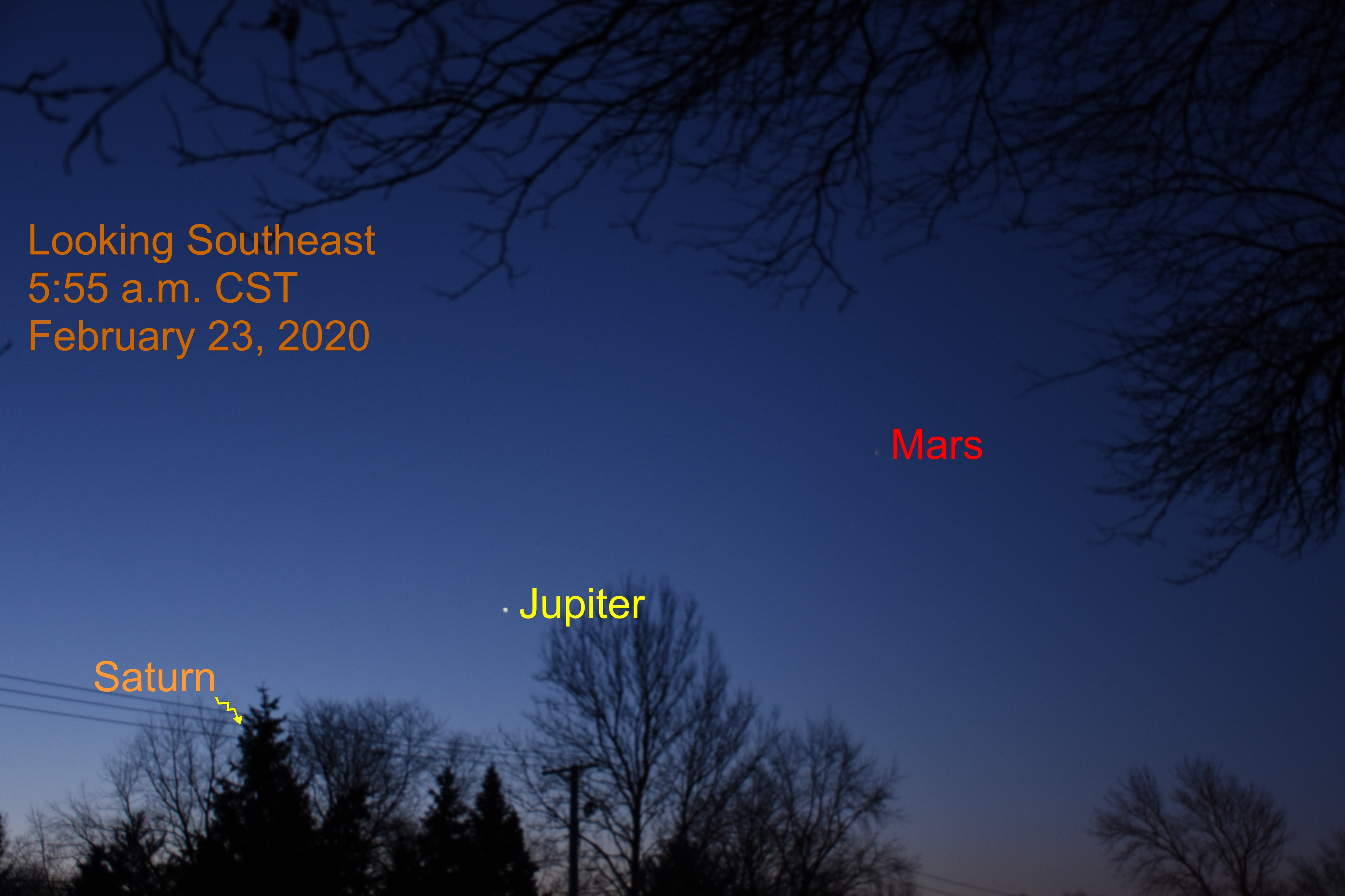 2020, February 23: Jupiter, Mars and Saturn