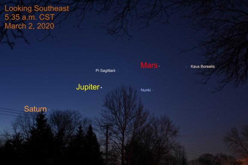 Jupiter, Mars, and Saturn on March 2, 2020