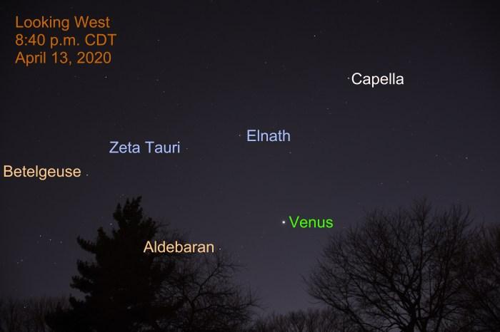 Venus shines in Taurus, April 13, 2020