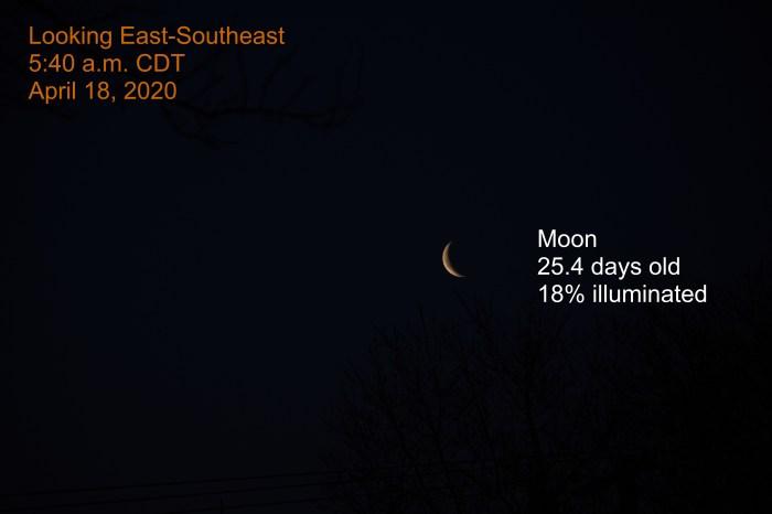 The crescent moon, April 18, 2020