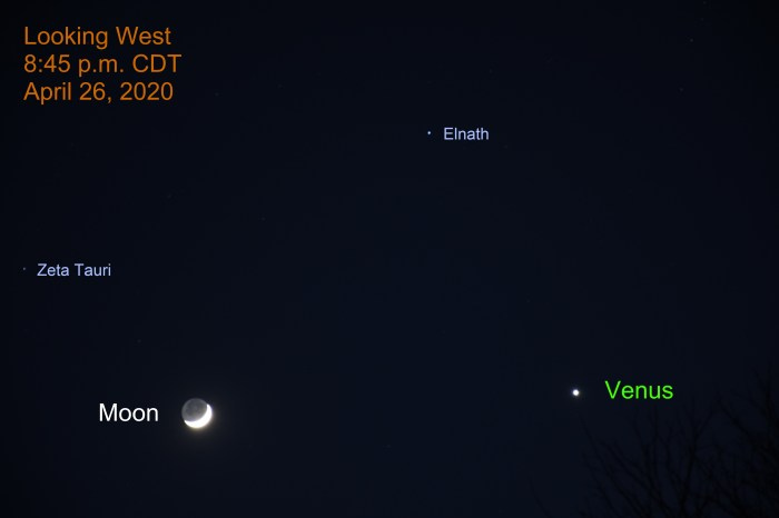 Brilliant Venus and the Crescent Moon, April 26, 2020