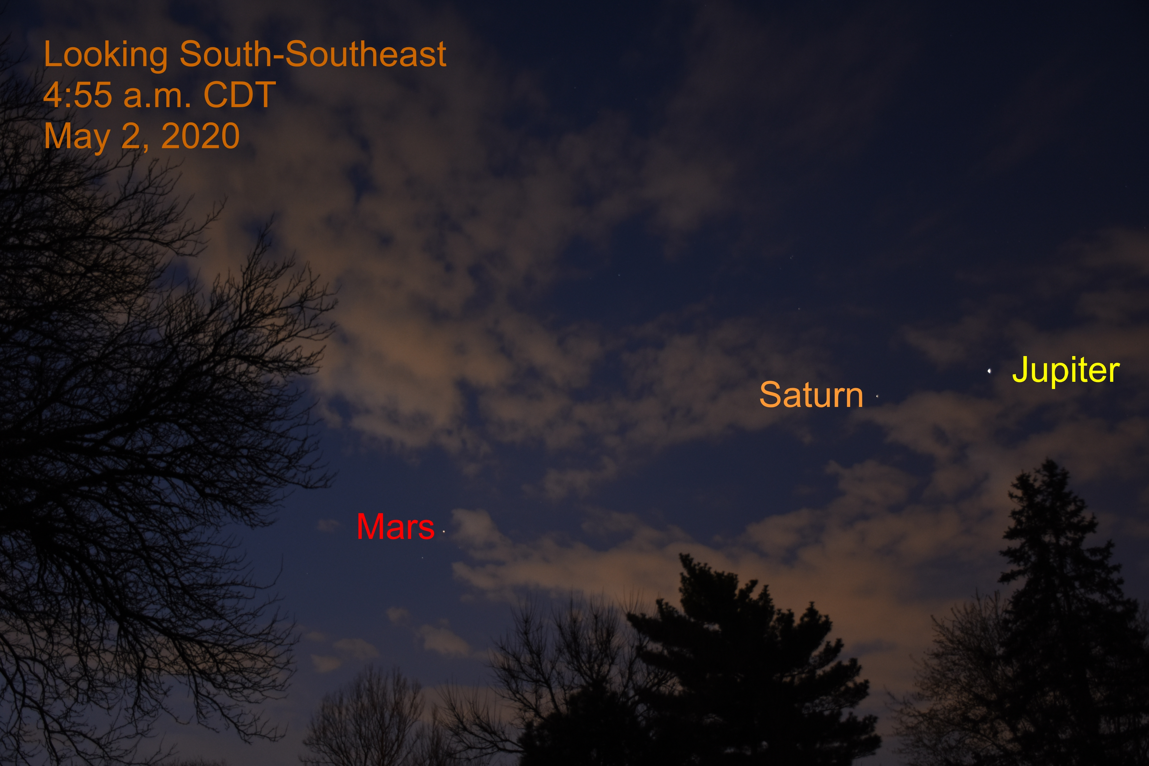 Jupiter, Mars, and Saturn, May 2, 2020