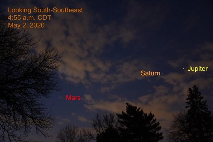Jupiter, Mars, and Saturn, May 2, 2020