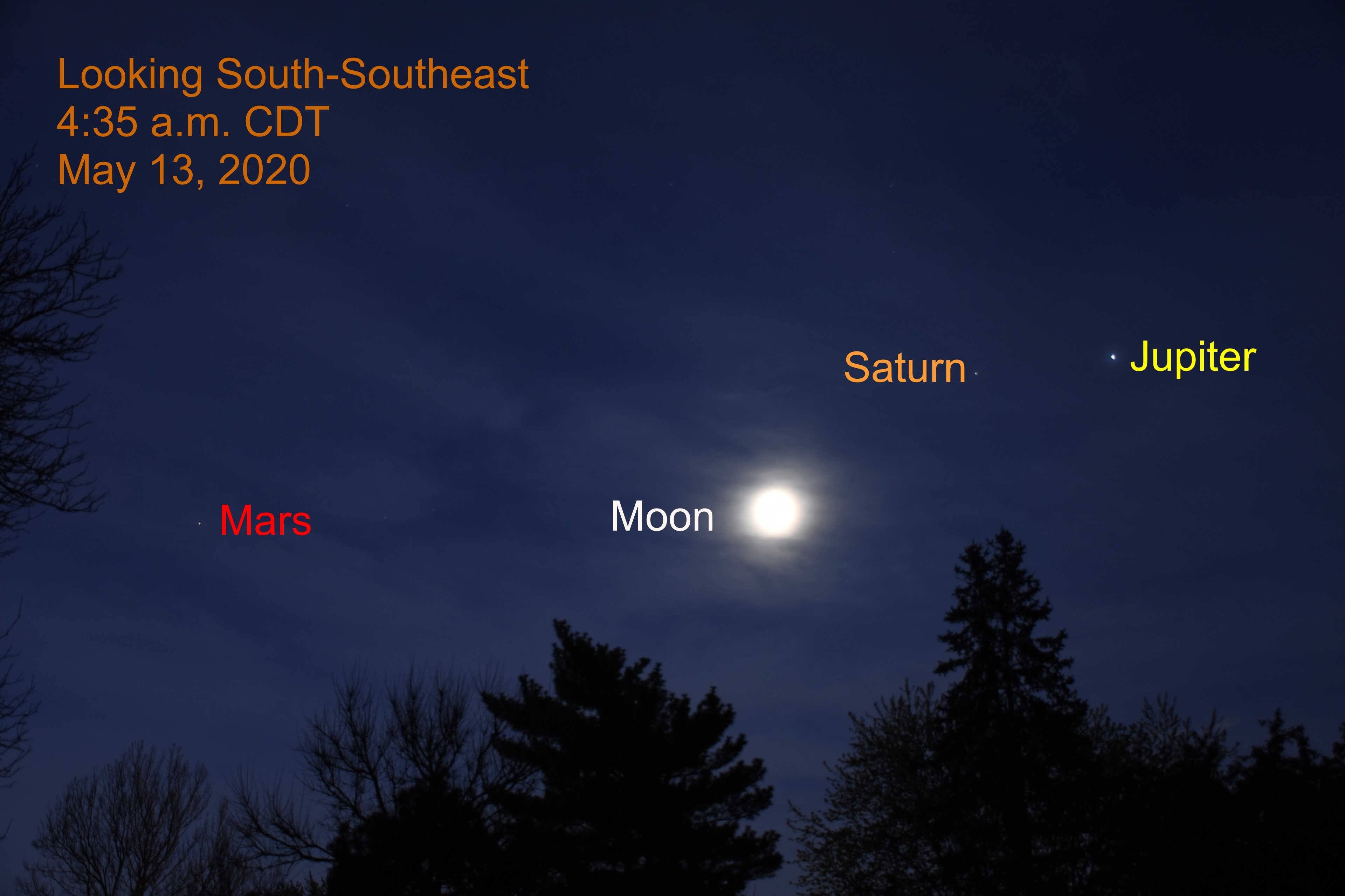 The moon with Jupiter, Saturn, and Mars, May 13, 2020