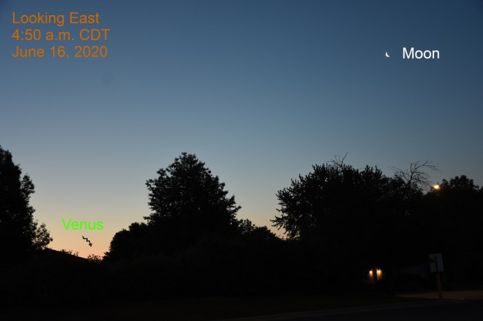 The crescent moon and Venus, June 16, 2020