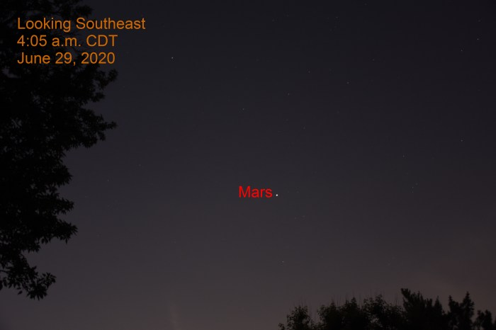 Mars in the southeast, June 29, 2020