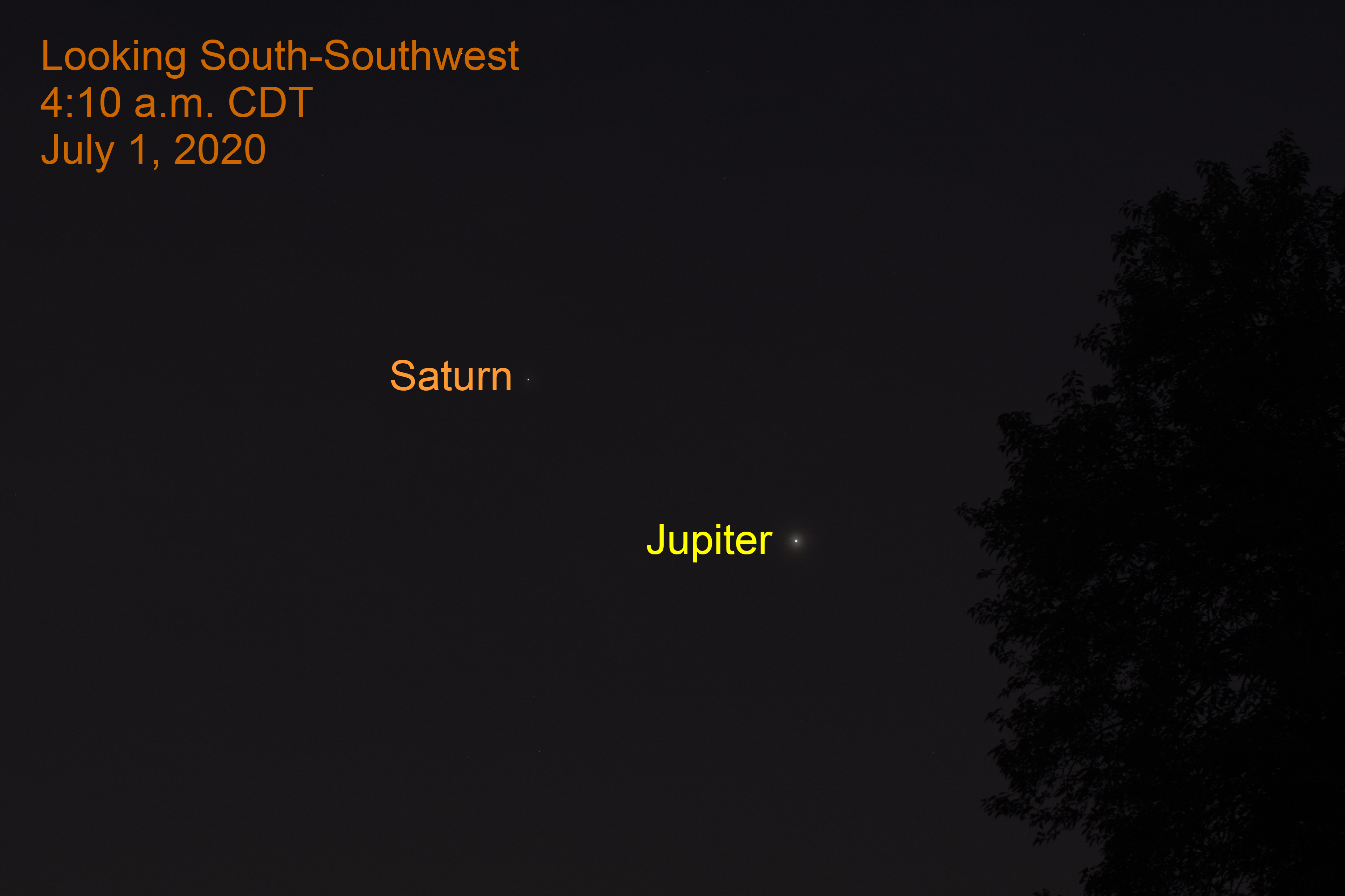 Jupiter and Saturn, July 1, 2020