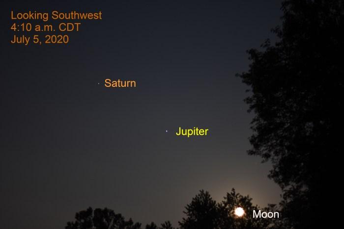 Moon, Jupiter, Saturn, July 5, 2020