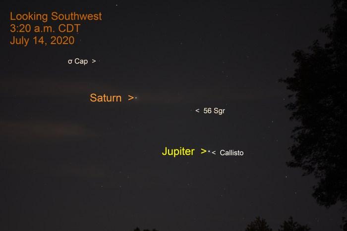 Jupiter and Saturn in Sagittarius, July 13, 2020.