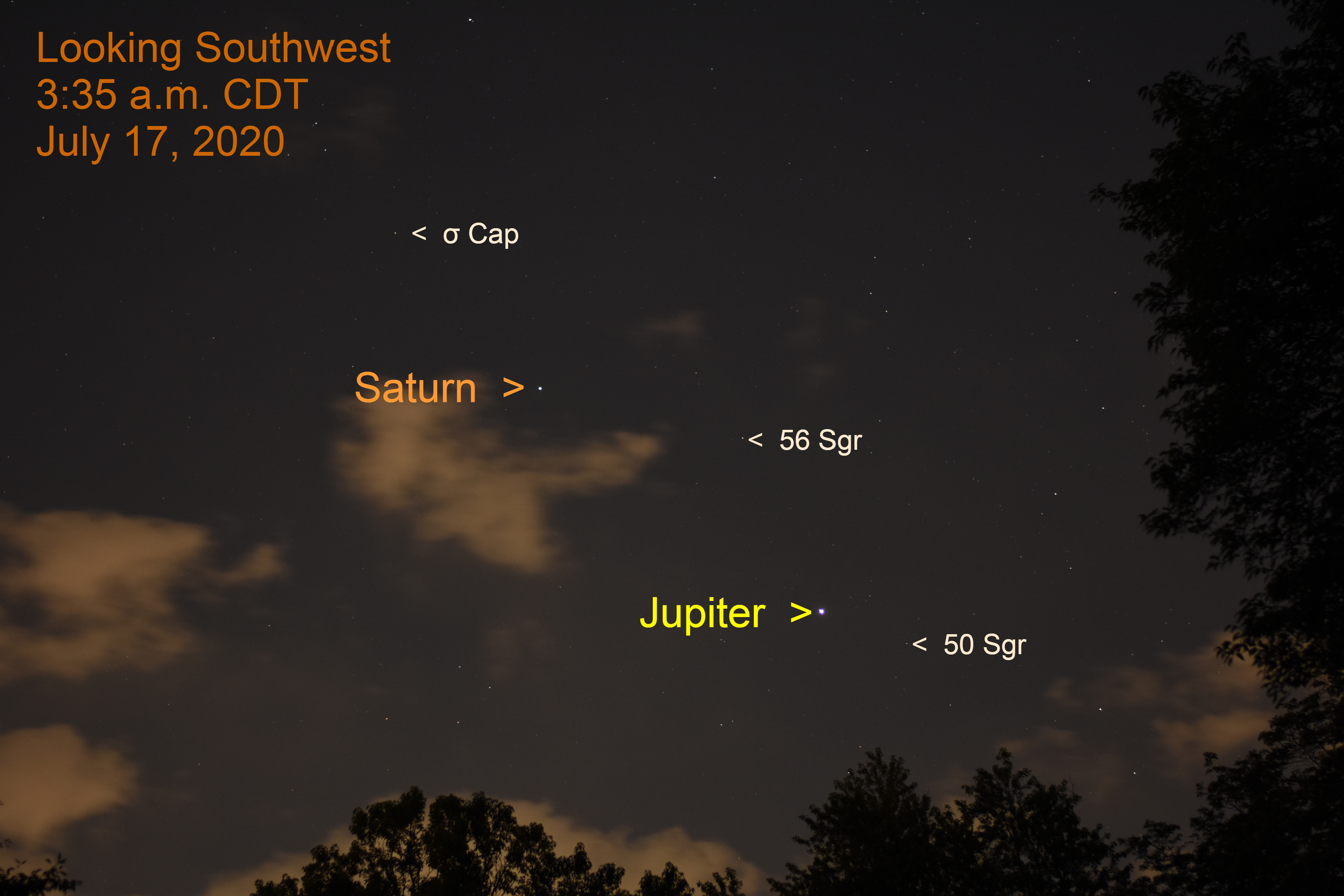 Jupiter and Saturn in eastern Sagittarius, july 17, 2020.