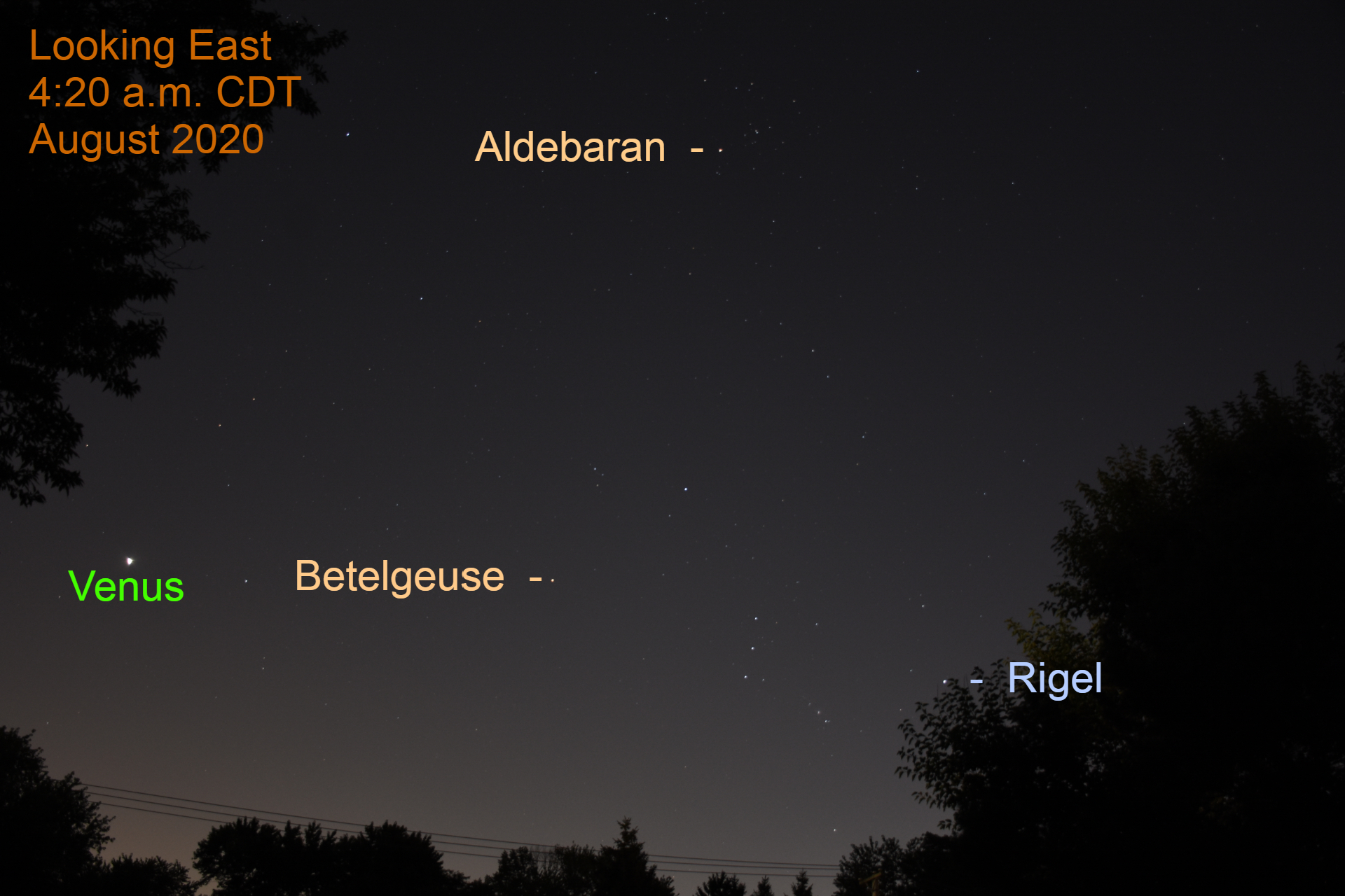 Venus appears with Orion