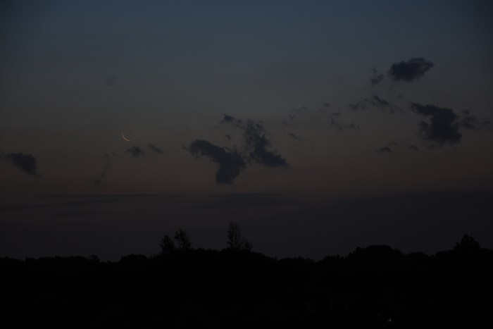 The crescent moon before sunrise, July 19, 2020.