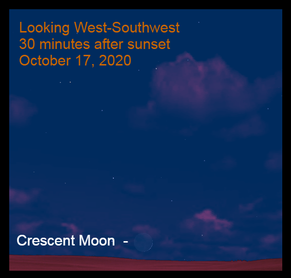 The crescent moon, October 17, 2020.