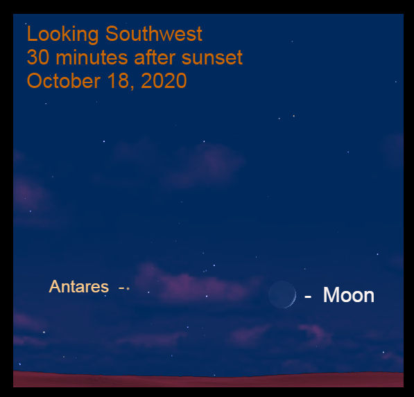 Moon and Antares, October 18, 2020