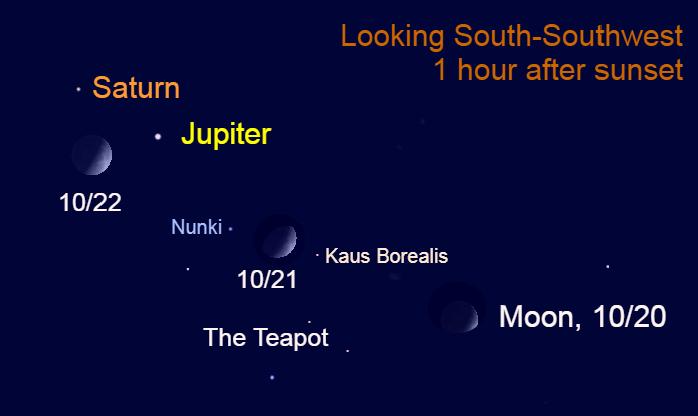 The moon in Sagittarius, October 20-22, 2020.